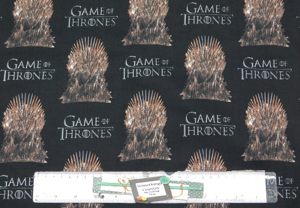 Patchwork Quilting Fabric GAME OF THRONES CROWN BLACK Cotton FQ 50X55cm NEW