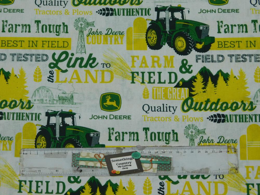 Patchwork Quilting Fabric JOHN DEERE TRACTOR FARM TOUGH Cotton FQ 50X55cm NEW