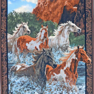 Patchwork Quilting Sewing Fabric RIVERS EDGE HORSES WESTERN Panel 90 x 110cm New