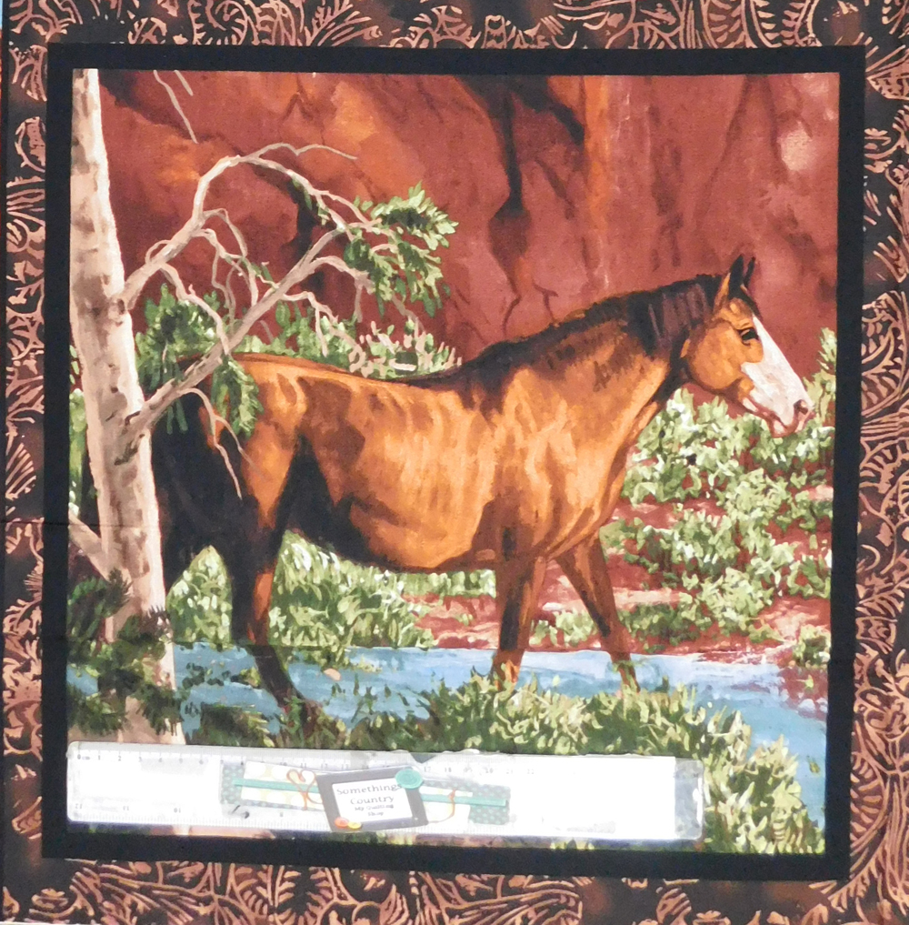 Patchwork Quilting Sewing Fabric RIVERS EDGE HORSES WESTERN 3 Panel 45x45cm New