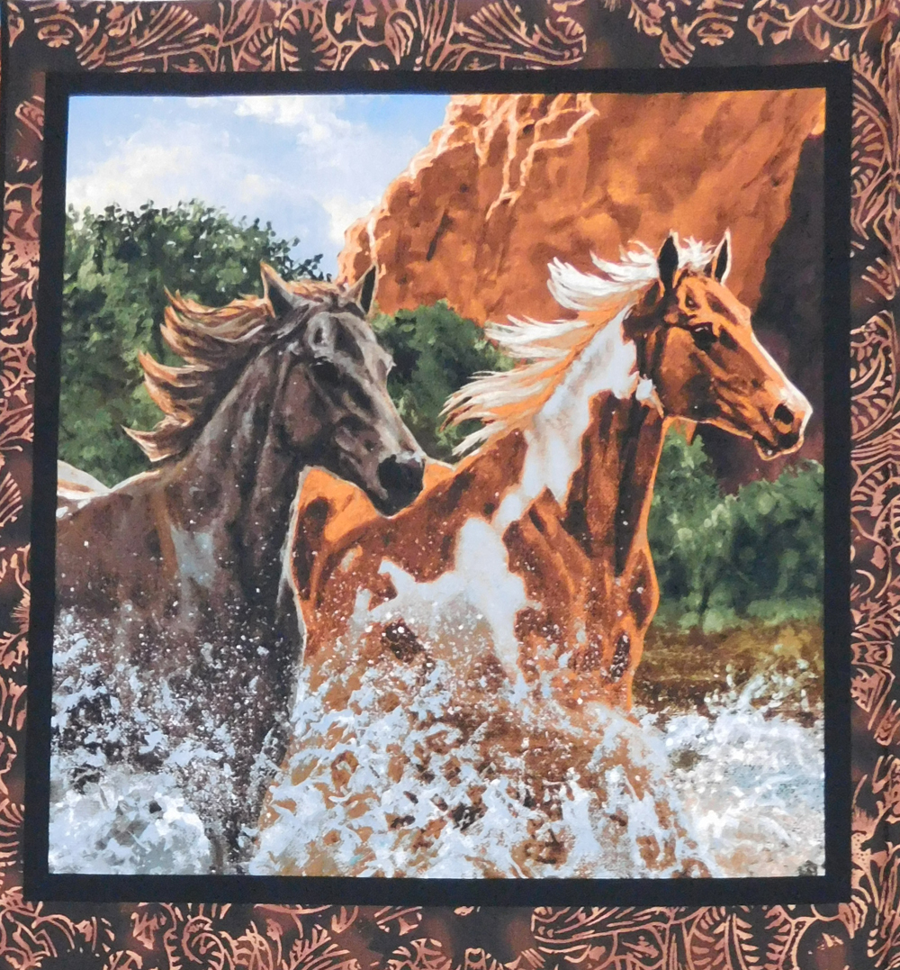 Patchwork Quilting Sewing Fabric RIVERS EDGE HORSES WESTERN 1 Panel 45x45cm New