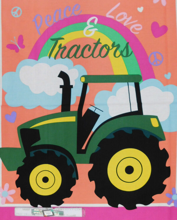 Patchwork Quilting Sewing Fabric JOHN DEERE TRACTOR PINK Panel 90x110cm New