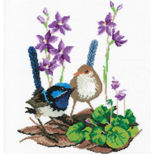 DMC Cross Stitch Counted X Stitch KIT BLUE WRENS AND SUN ORCHIDS New