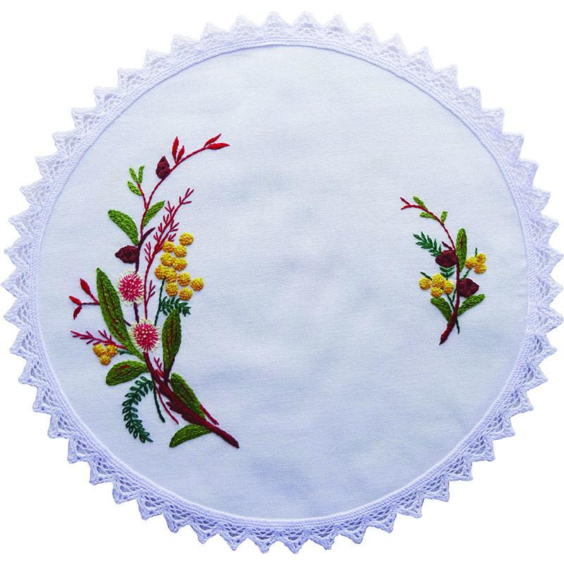 Printed stamped embroidery cm doily hand stitching hakea