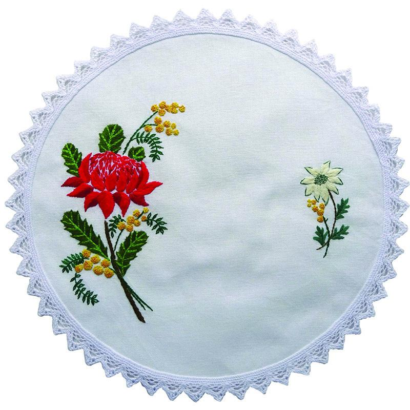 Printed Stamped Embroidery 30cm Doily Hand Stitching AUSTRALIAN WARATAH FLOWERS New