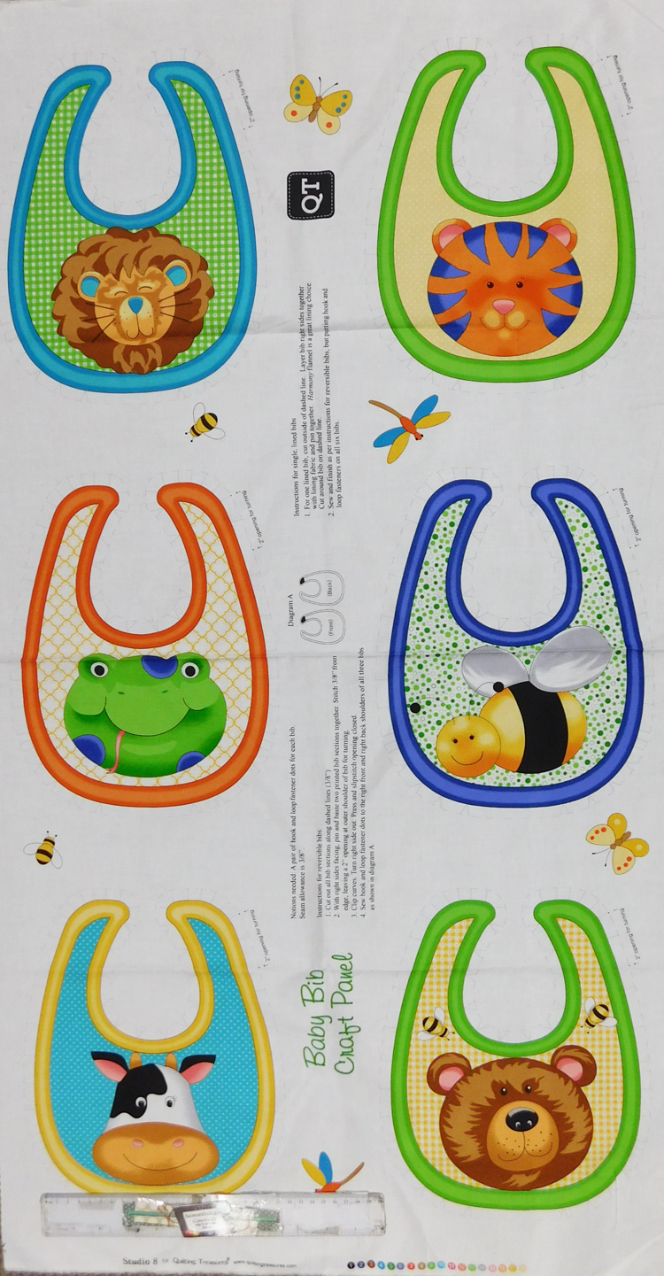 Patchwork Quilting Sewing Fabric BABY BIBS CRAFT Cotton Material Panel 60x110cm New