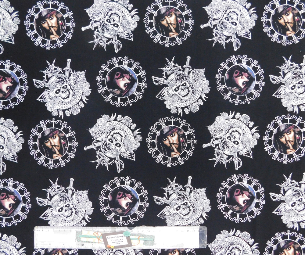 Quilting Patchwork Sewing Fabric PIRATES OF THE CARIBBEAN Cotton Material 50x55cmFQ NEW