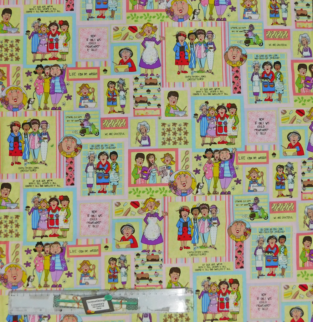 Quilting Patchwork Sewing Fabric CHURCH KITCHEN LADIES Material 50x55cmFQ NEW