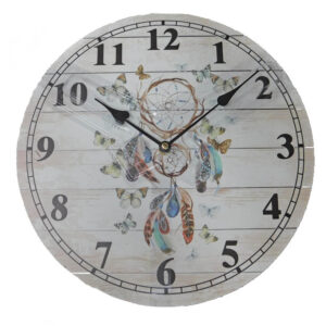 Clock Country Vintage Inspired Wall Clocks 34CM INDIAN DREAM CATCHER New Time