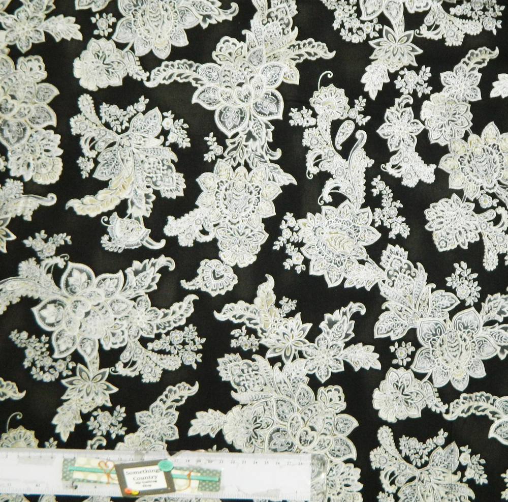 Quilting Patchwork Sewing Fabric BLACK WITH METALLIC SILVER Material 50x55cm FQ NEW