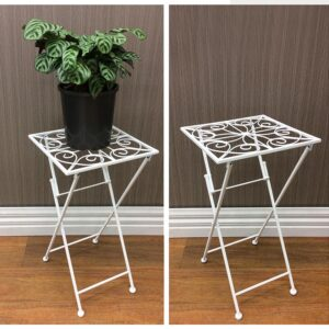 French Country Vintage Inspired Wrought Iron WHITE Side Table Pot Plant Holder NEW