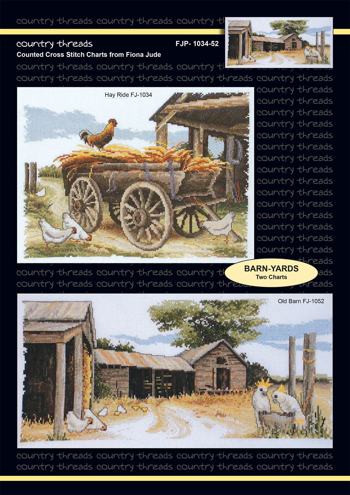Country Threads Cross Stitch Counted X Stitch Pattern Graph BARN YARDS New