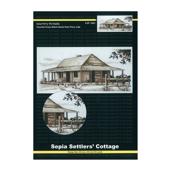 Country Threads Cross Stitch Counted X Stitch Pattern Graph SEPIA SETTLERS COTTAGE New