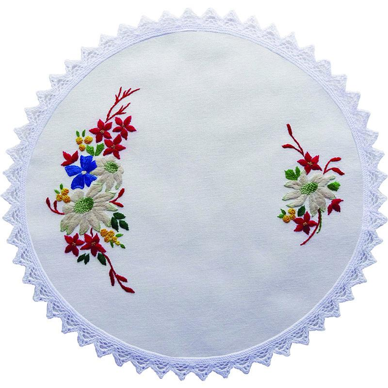 Printed Stamped Embroidery 30cm Doily Hand Stitching AUSTRALIAN FLANNEL FLOWERS New