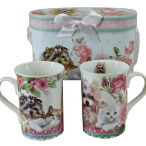 French Country Chic Kitchen Coffee Mugs CATS & DOG Set 2 in Gift Box New FREEPOST