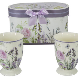 French Country Chic Kitchen Coffee Mugs LAVENDER Set 2 in Gift Box New FREEPOST