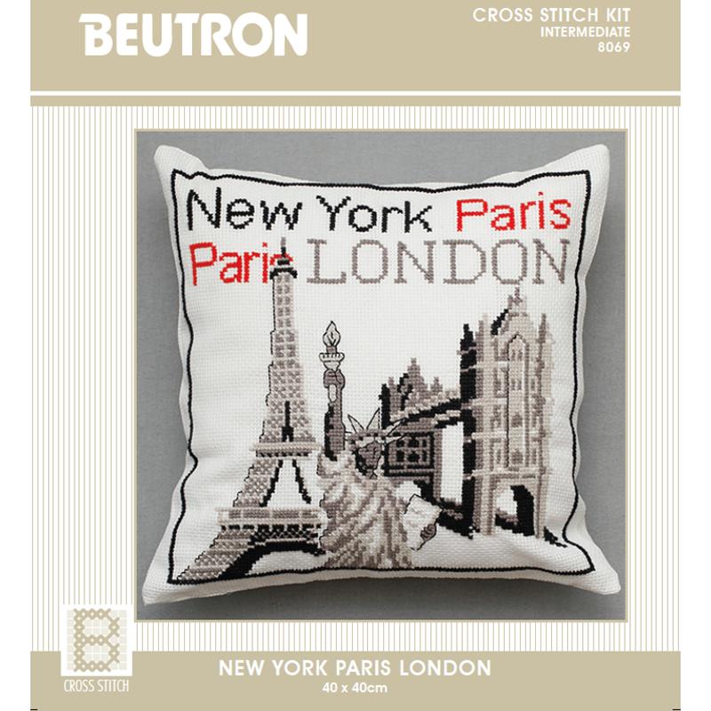 BEUTRON Cross Stitch Counted X Stitch KIT NEW YORK, PARIS, LONDON 40x40cm New