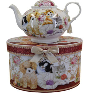 French Country Lovely Teapot CATS & DOG China Tea Pot with Giftbox FREEPOST NEW