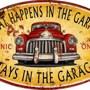 Country Tin Sign Vintage Inspired Wall Art WHAT HAPPENS GARAGE Retro Plaque NEW
