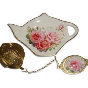 French Country Inspired Elegant China PINK ROSE Tea Bag Holder with Strainer Set New