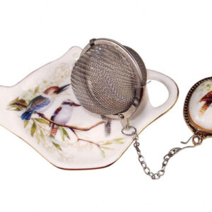 French Country Inspired Elegant China KOOKABURRA Tea Bag Holder with Strainer Set New