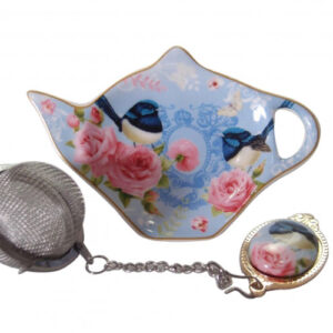 French Country Inspired Elegant China BLUE WREN Tea Bag Holder with Strainer Set New