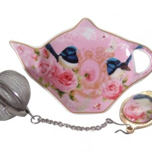 French Country Inspired China PINK BLUE WREN Tea Bag Holder with Strainer Set New