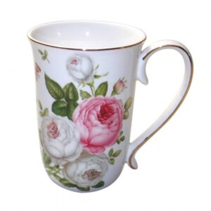 French Country Chic Kitchen Coffee Mugs Elegant BUTTERFLY & ROSE Set of 2 New