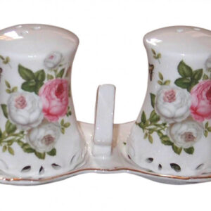 French Country Chic Collectable Salt and Pepper Set BUTTERFLY ROSE with TRAY New