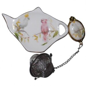 French Country Inspired China COCKATOO Bird Tea Bag Holder with Strainer Set New