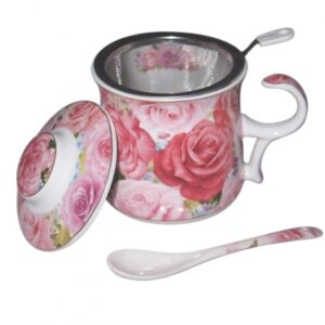 French Country Chic Kitchen TEA Mug Elegant ENDURING ROSE with Lid & Strainer New