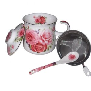 French Country Chic Kitchen TEA Mug Elegant PINK ROSE with Lid & Strainer New