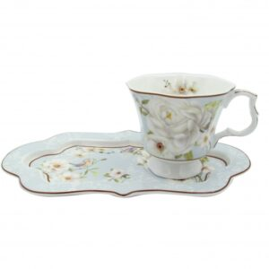 French Country Chic Kitchen Breakfast TEA Cup & Plate Set Elegant WHITE ROSE New