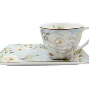 French Country Chic Kitchen Tea Cups and Saucers Set of 2 WHITE ROSE New