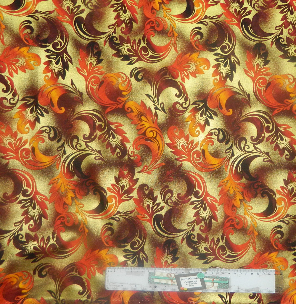 Patchwork Quilting Sewing Fabric METALLIC FLORAL FLAME Material 50x55cm FQ New
