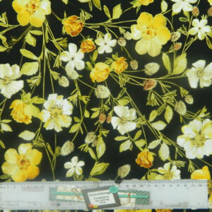 Patchwork Quilting Sewing Fabric METALLIC YELLOW FLOWERS 50x55cm FQ New