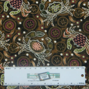 Patchwork Quilting Sewing Fabric DOWN UNDER MUD CRABS ABORIGINAL 50x55cm FQ New