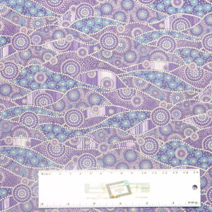 Patchwork Quilting Sewing Fabric DOWN UNDER PURPLE DOTS ABORIGINAL 50x55cm FQ New