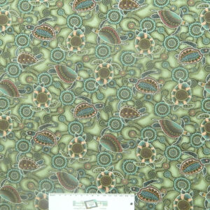 Patchwork Quilting Sewing Fabric DOWN UNDER GREEN TURTLES ABORIGINAL 50x55cm FQ New