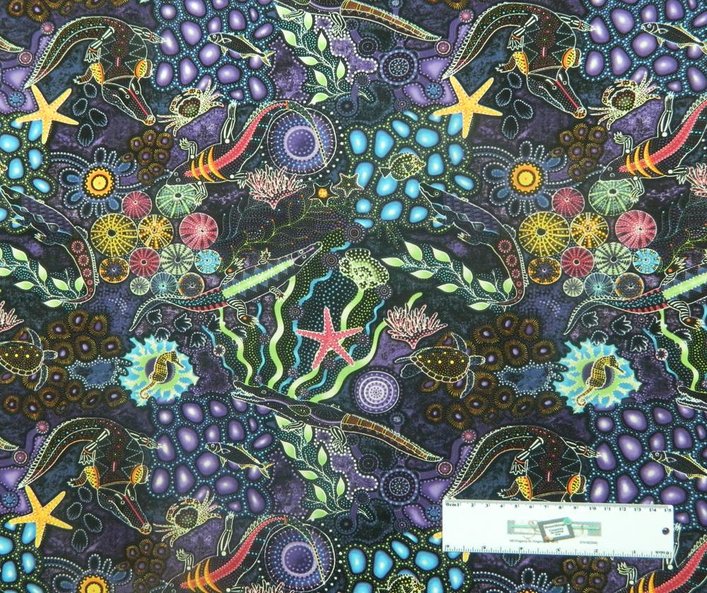 Patchwork Quilting Sewing Fabric DOWN UNDER PURPLE CROCODILES ABORIGINAL 50x55cmFQ New
