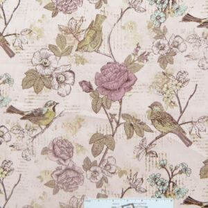 Patchwork Quilting Sewing Fabric PINK FLORAL BIRD WRITING 50x55cm FQ New