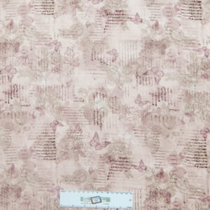 Patchwork Quilting Sewing Fabric PINK BUTTERFLY WRITING 50x55cm FQ New
