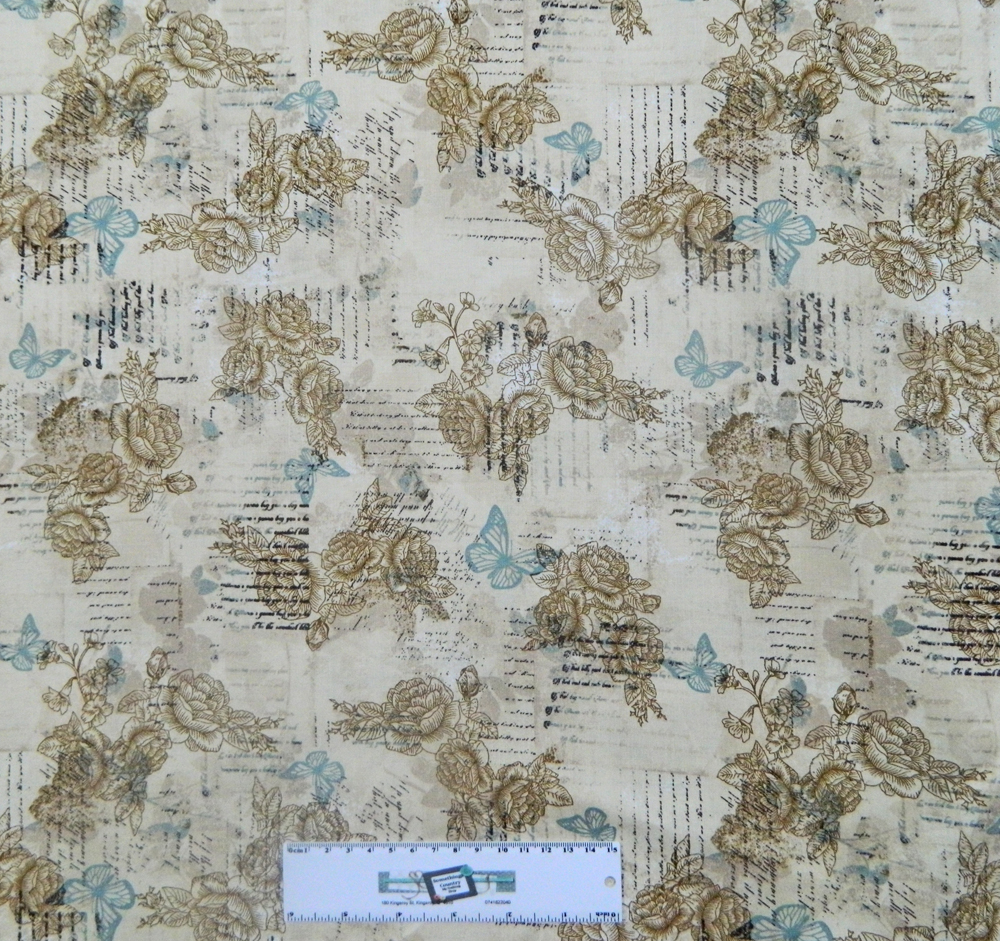 Patchwork Quilting Sewing Fabric CREAM BUTTERFLY WRITING 50x55cm FQ New