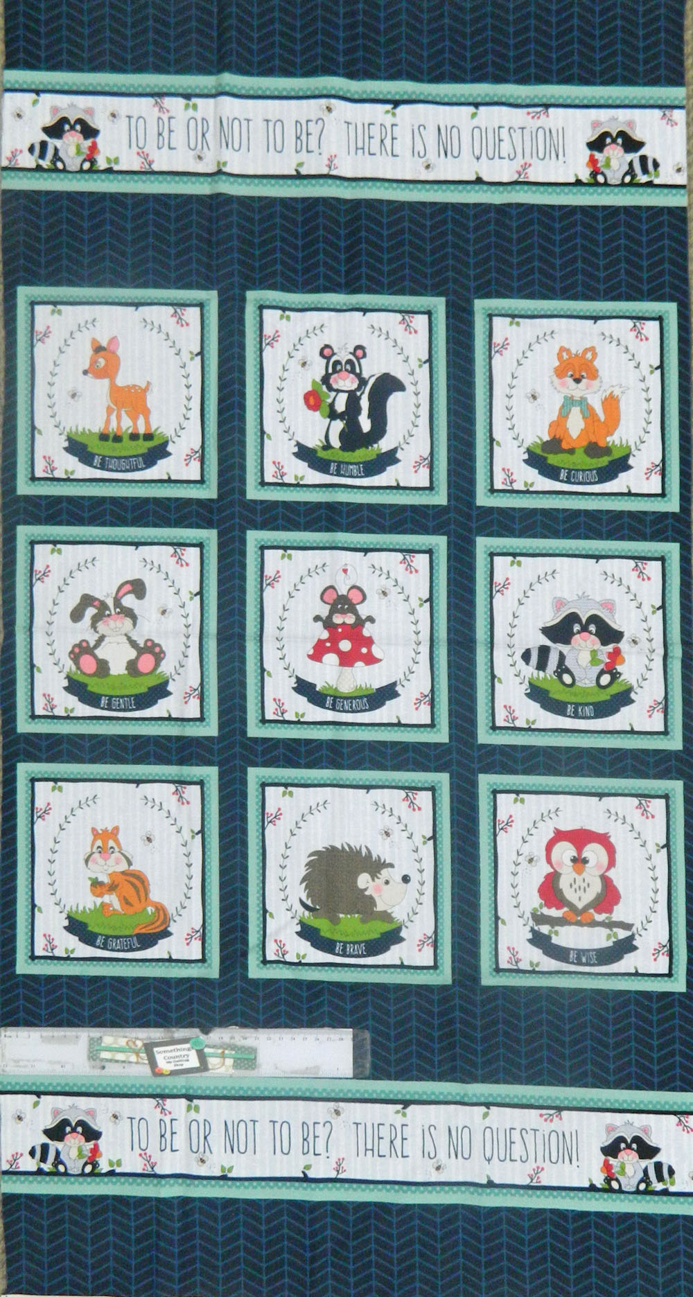 Patchwork Quilting Sewing Fabric TO BE GENTLE, GRATEFUL, BRAVE Material Panel 58x110cm New