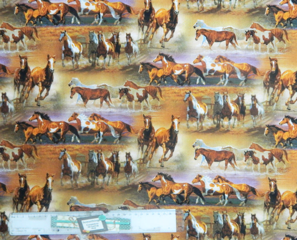 Patchwork Quilting Sewing Fabric FARMYARD FRIENDS HORSES Material 50x55cm FQ New