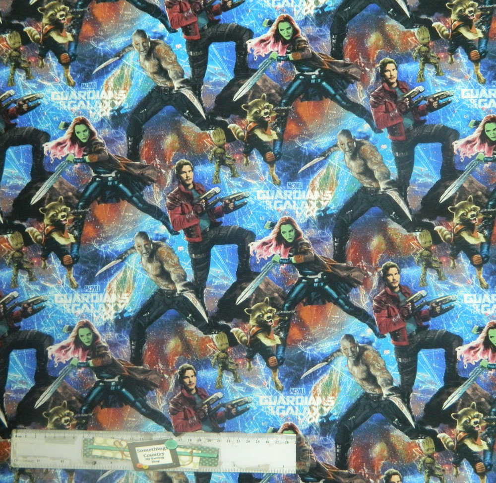 Patchwork quilting sewing fabric guardians of the galaxy for Galaxy quilt fabric