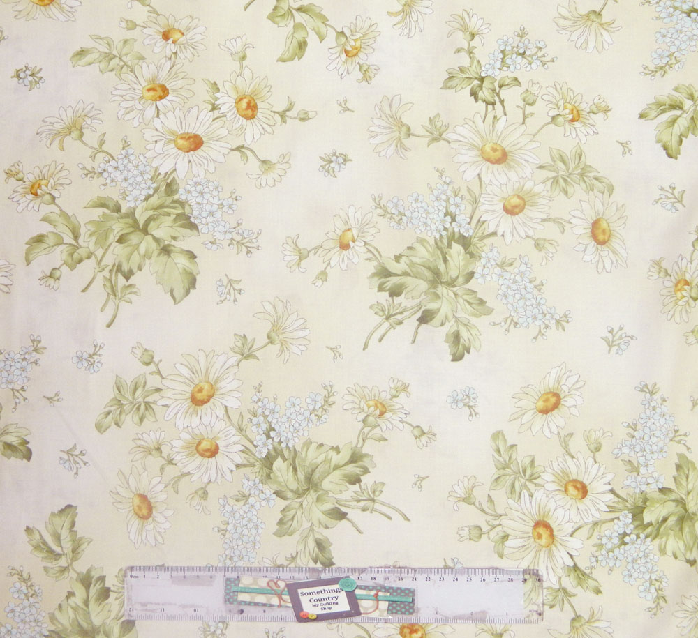 Patchwork Quilting Sewing Fabric GENTLE BREEZE CREAM FLORAL Material 50x55cm FQ New