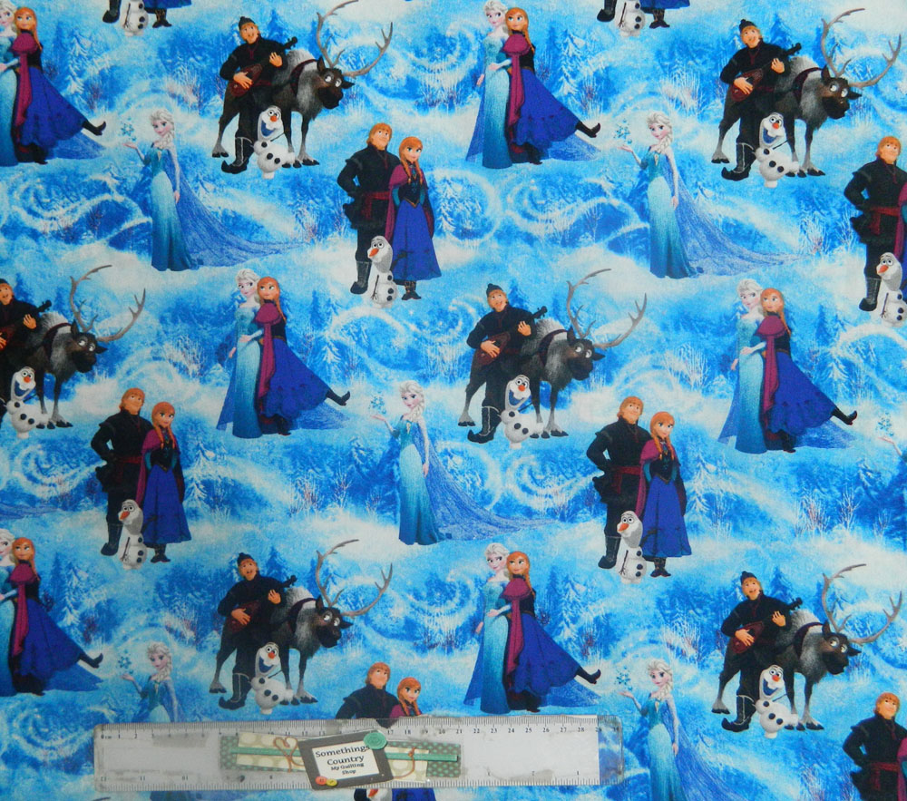 Patchwork Quilting Sewing Fabric FROZEN BLUE ANNA & ELSA Material 50x55cm FQ New
