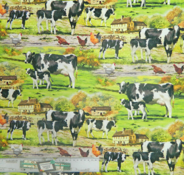 Patchwork Quilting Sewing Fabric FARMYARD FRIENDS COWS Material 50x55cm FQ New