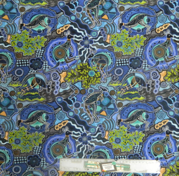 Patchwork Quilting Sewing Fabric KANGAROO WALKABOUT ABORIGINAL Cotton Material 50x55cmFQ New